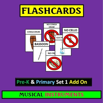 Flashcards: PreK and Primary Set 1 ADD ON Musical Instruments