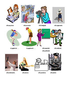 Flashcards Professions Occupations Spanish