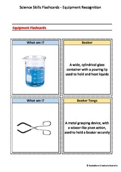Flashcards (Set of 80) - Science Equipment and Definitions - HQ Photos