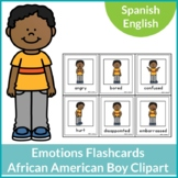 Emotions Flashcards African-American Boy Clipart Spanish and English