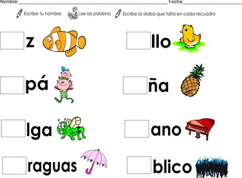 Flashcards + Spanish Homework Syllables: pa pe pi po pu Color + B/W