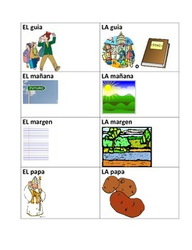 Flashcards-Spanish Words That Change Meaning Depending on the Article