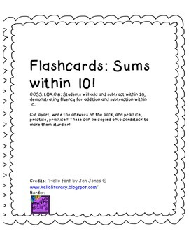 Flashcards: Sums within 10