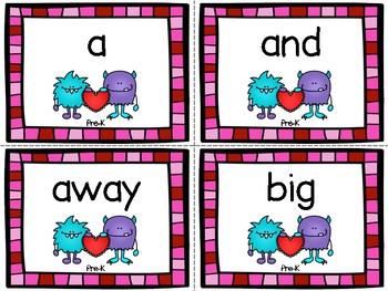 Valentine's Day Pre-Kindergarten Dolch Sight Word Flashcards