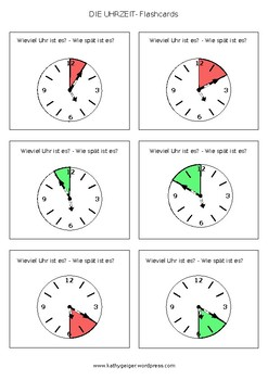 "Flashcards ""What time is it?"" in German"