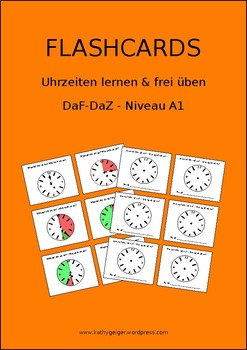 """Flashcards """"What time is it?"""" in German"""