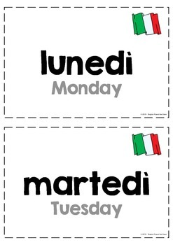 Flashcards and Activities to learn the days of the week in Italian