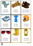 Flashcards clothes and accessories in French - Les vêtemen