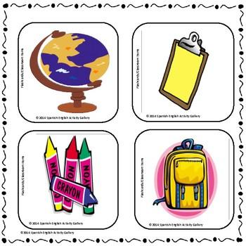 Flashcards for Classroom Items - English & Spanish