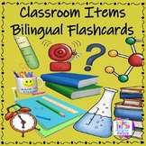 Flashcards for Classroom Items - English & Spanish