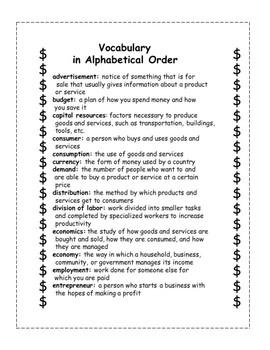 Flashcards for Economics Vocabulary