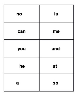 Flashcards for Fountas & Pinnell First 75 Words