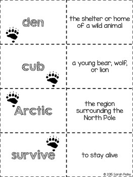 Flashcards for Journey's Where Do Polar Bears Live? Unit 4 Extended Text