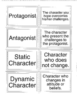 Flash cards for Literary Elements and Characters