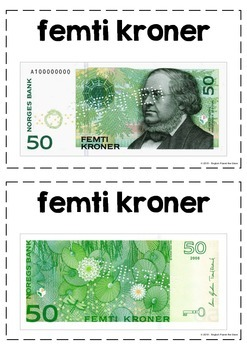 Flashcards for learners of Norwegian (money)