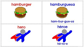 Flashcards for Palabras con H Flashcards for Words with H