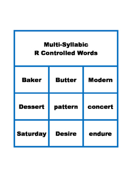 Flashcards for R Controlled Words (one syllable and multi syllable words)