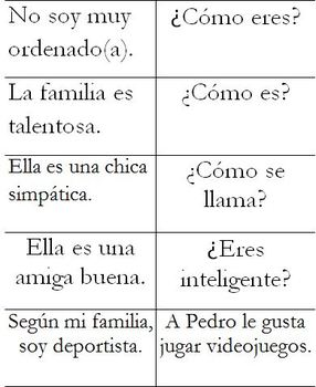 Flashcards for Speaking/Writing/Reading Practice with Partners (Realidades 1B)