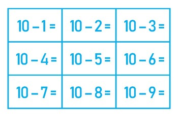 Flashcards for Subtraction BONGO 1-10