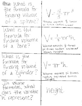 Flashcards for Volume of Cubes, Cones, & Spheres