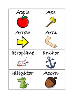 Flashcards for alphabet A