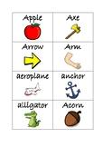 Flashcards for alphabet A