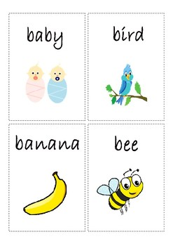 Flashcards for alphabet B