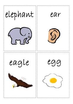 Flashcards for alphabet E