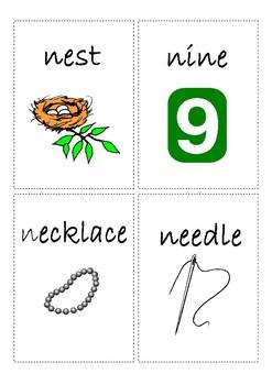 Flashcards for alphabet N