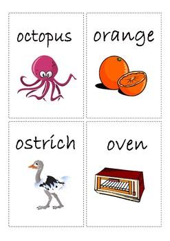 Flashcards for alphabet O