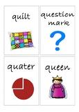 Flashcards for alphabet Q