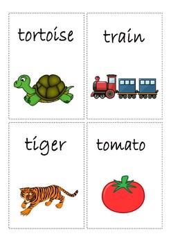 Flashcards for alphabet T