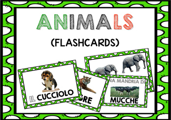 Flashcards for learners of Italian (ANIMALS / GLI ANIMALI in Italian)