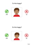"""Flashcards for learning emotions - """"is this happy?"""" and """"i"""
