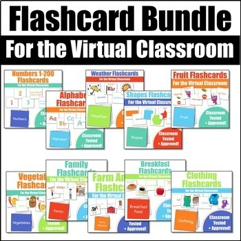 Flashcards for the Virtual ESL Classroom Bundle - Virtual Classroom Props