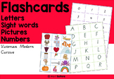 Flashcards - letters numbers high frequency words pics, Victorian Modern Cursive