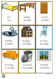 Flashcards objects in the house in French - les objets dans la maison