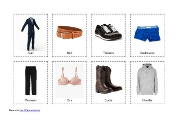 Flashcards of Clothes