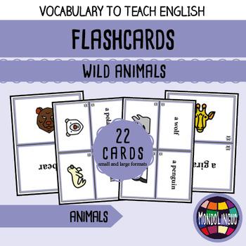 Flashcards to teach English/ESL: Wild aninals