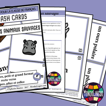 Flashcards in French/FFL/FSL: Animaux sauvages/Wild animals