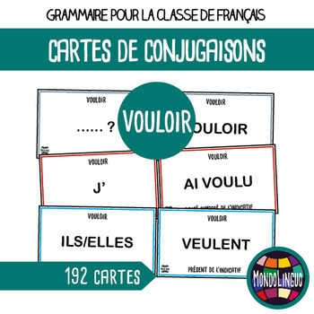 Flashcards to teach French/FFL/FSL: Verbe Vouloir/To want