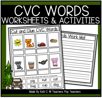 3 Letter Word Flashcards and Work Mats