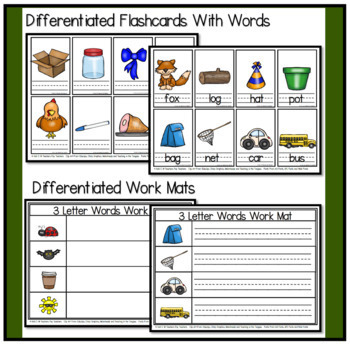 Decoding Words with 3 Letter Word Flashcards and Workmats
