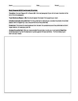 Flashdraft Literary Essay Graphic Organizer