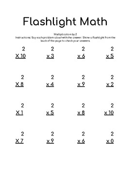 Flashlight Math Multiplying by 2 (two's)