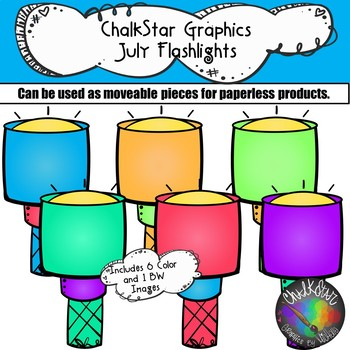 Flashlights July Clip Art –Chalkstar Graphics