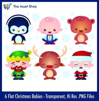 Flat 'Christmas Babies' Set (Digital Clip Art)