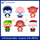 Flat 'Christmas Babies' Set (Digital Clip Art)