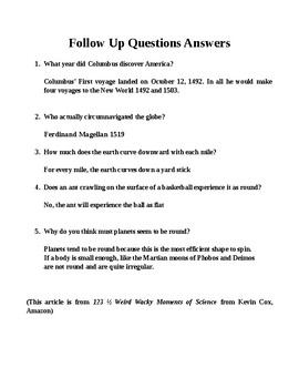 Flat Earth? One-Page Science Literacy w Questions