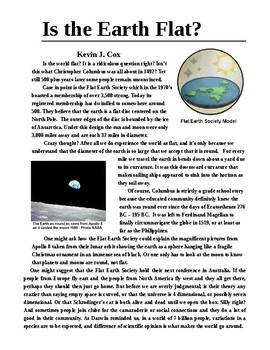 Is the Earth Flat?  1 Page Sci Literacy Article with Follow Questions